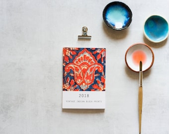 2018 Calendar, Boho Calendar, Vintage Indian Block Prints, Small Wall Calendar, Printed Desk Calendar, Gifts Under 20