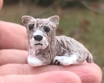 Terrier Mix, Yorkie Mix, Cairn Mix Dog Polymer Clay, miniature Dog, Dollhouse Dog