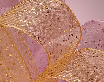 """5 yds GEMSTONE DUST SHEER  Ribbon, 1.5"""" wide    Scrapbooking, Hair Bows, Spring Events Party Supplies, Weddings"""