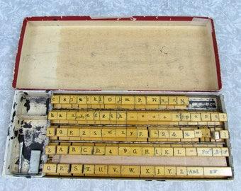 Vintage Wood Printing Blocks - Stamping Blocks - Alphabet, numbers, punctuations - 1940s