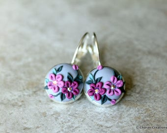 Gorgeous Polymer Clay Applique Statement Earrings in Gray and Purple