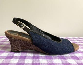 1990s denim wedge slingback sandals - US 9 / EUR 39.5 / UK 7