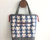 drawstring tote bag, tote, zipper pocket, fully lined, essex linen bottom, bag, ready to ship, fashion, sturdy, handbag,  designer fabric