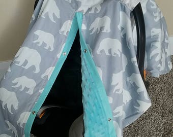 Carseat Canopy Woodland Bear with Minky Carseat Cover READY TO SHIP