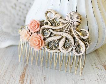 Pink Wedding Hair Piece - Summer Outdoors - Wedding Hair Comb - Summer Jewelry - Wedding Hair Accessories - Beach Wedding Hair Piece