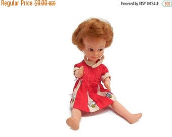 "40% OFF NOW Vintage Penny Brite Doll in Original Red & White Dress, 8"" Penny Brite Doll, Deluxe Reading Corp., Collectible Vinyl Doll, Mid C"