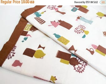 """40% OFF NOW Square Kitchen Motif Tablecloth, Vintage MCM Tablecloth, 37"""" Square Cotton Tablecloth, Coffee Klatsch Print Tablecloth, Atomic P"""