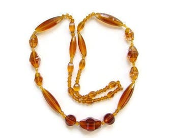 C1920s Flapper Era Art Deco Graduated Amber Glass Bead Necklace 28 Inch