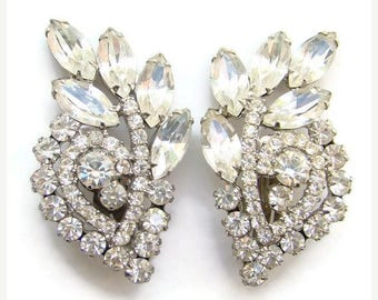 ON SALE Vintage DeLizza & Elster Juliana Clip Earrings Clear Rhinestone Large Climber Beautiful