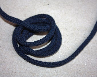5 mm NAVY BLUE Cotton Rope = 5 Yards = 4.57 Meters of Elegant Cotton Braided Cord - Bulky Yarn - Super Bulky Yarn - Macrame Cotton Cord