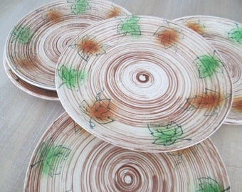 Fall Leaves Plates Del Coronado Nasco Set of 6 Lunch Dessert Salad Dishes // Vintage Happy Thanksgiving