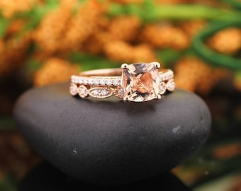 Reserved for Mitch, AAA Morganite Engagement Ring 14k Rose Gold 7mm Gem1446