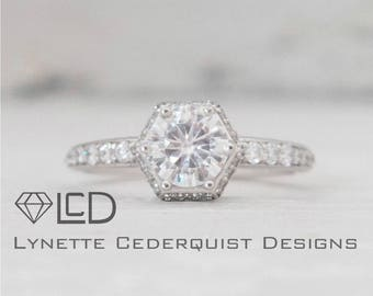 1 carat Forever One Moissanite Hexagon Halo Conflict Free Diamond Engagement Ring LCDH016