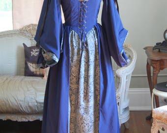 blue dress lass wench ren medievil LARP inspired costume