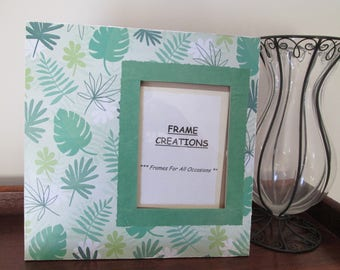 5x7 Palm Leaf Themed - Hand Decorated Picture Frame