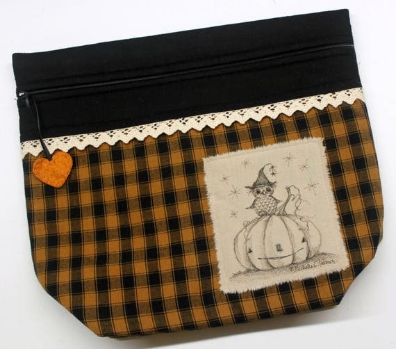 Limited Edition Big Bottom Owl Pumpkin Cross Stitch, Embroidery Project Bag