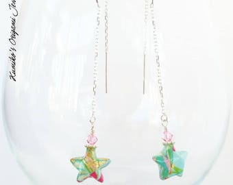 Japanese Origami Jewelry - Origami Star Dangle Earring with Swarovski Crystals & 925 Sterling Silver Threaders No.3543