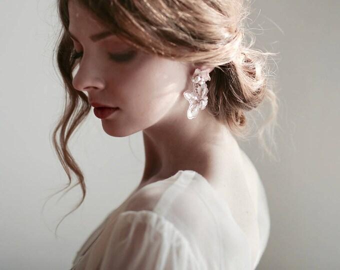 Pink Lace Earrings, Wedding Earrings, Stud Earrings, Blush Pink Earrings, Bridal Earrings, Bridesmaid Earrings, Pink Earrings,