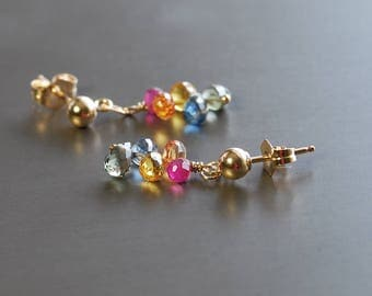 Dainty Sapphire Dangle by Agusha. Delicate Multi Color Sapphire Post Earrings