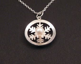 Silver Snowflake and Pearl Pendant