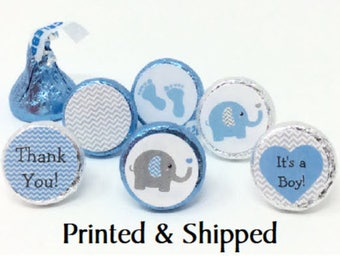 324 Baby Shower Stickers for Candy Kiss® - Blue & Grey Chevron Elephant Blue Gray Labels for Chocolate Kisses