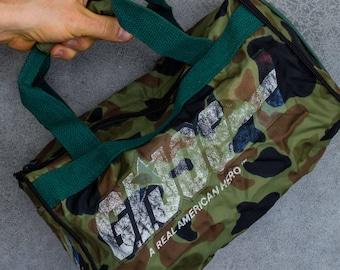 1980s G.I. Joe Duffel Bag Zip Up Collapsible Gym Bag Vintage Camo Distressed Tote 7VV