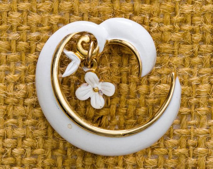 White and Gold Brooch Vintage Moon Spiral Dangling Flower Broach Vtg Pin 7JJ