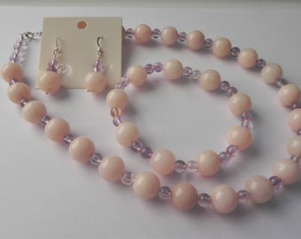 Peach quartzite and light amethyst necklace, bracelet & earrings set.