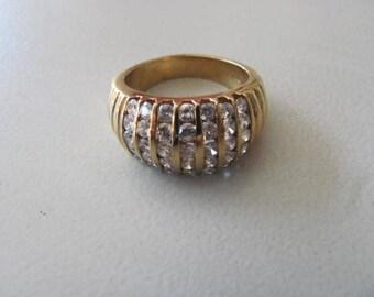 Sterling Cz Ring, Vintage Statement Ring, Engagement Wedding, Size 8