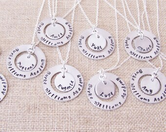 Pendant necklaces and key chain, custom handstamped charm, you choose 1 or more