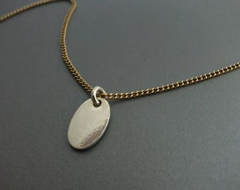 Silver Oval Pendant Necklace Mixed Metals Necklace
