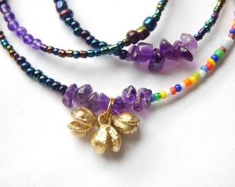 Amethyst Bells Waist Beads, Purple Little Bells Waist Beads, African Belly Chains, Purple Belly Beads, African Jewelry,