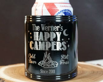 Custom Can Cooler - Camping Can Cooler - Black Metal Can Cooler - Can Cooler - Beverage Holder