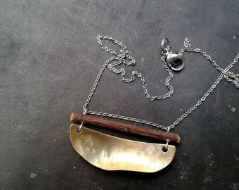 Wood and Brushed Brass Artisan  Pendant
