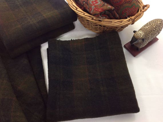 Fat 1/4 yd, Black Olive Plaid, Hand Dyed Wool Fabric for Rug Hooking and Applique, W367, Deep Black with hints of green, rust, brown
