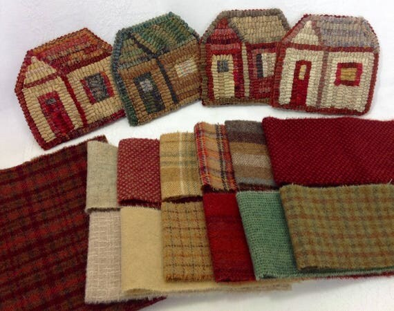 Wool Pack OR Pattern and Wool Pack for Little House Mug Rugs,  WP210, DIY Rug Hooking, Holiday Coasters, Scrappy House Mug Rugs