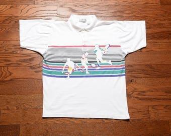 vintage 80s tennis polo shirt Van Heusen Players horizontal stripe graphic logo 1980 tennis shirt white golf shirt 100% cotton M
