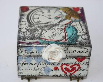 Alice In Wonderland Jewellery Box, Hand Painted Trinket Box, Keepsake Box