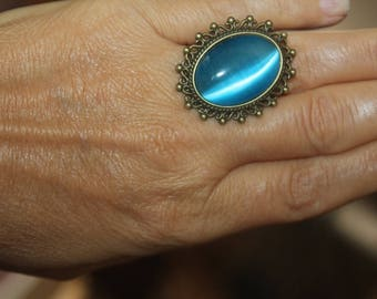 adjustable ring, cats eye ring, filigree ring, blue cats eye ring, brown cats eye ring, oval ring, green cats eye ring