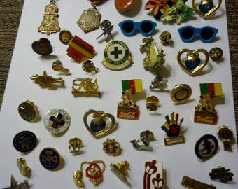 Lot of Mixed Vintage Tac and Small Pins, 51 Pieces, Various Themes