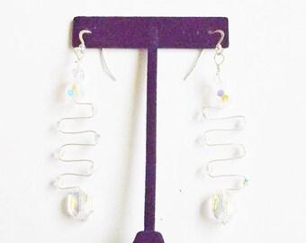 Handmade Earrings Dangle Clear Swarovski Crystal Glam Wirework OOAK Wedding Jewellry Bridal Party Jewelry Prom Gift Guide Women