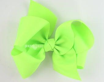 "Extra Large Hair Bow, 6"" Neon Green Hair Bow, Girls Hair Bows 6 inch hair bows, big bow, giant bow, extra large bow, jumbo hair bows xl"