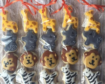 Mini Zoo Animal Birthday Sugar Cookies - Safari Birthday Party - Safari Baby Shower Favors - Zoo Baby Shower - Decorated Sugar Cookies