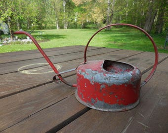 Vintage 1940s to 1960s Red Metal Chippie Paint Indoor Watering Can Retro Small Decor