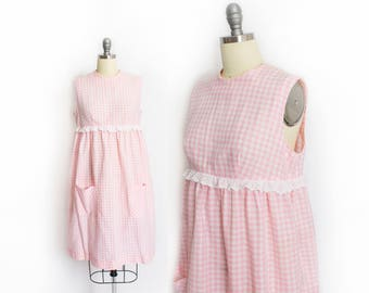 Vintage 1960s Dress - Pink & White Gingham Cotton Babydoll Day Dress - Small