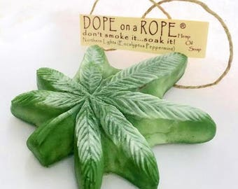 DOPE on a ROPE SOAP - Northern Lights - Hemp Oil - Gifts For Him - Essential Oil - Gifts for Her - Eucalyptus Peppermint Soap - Free Ship