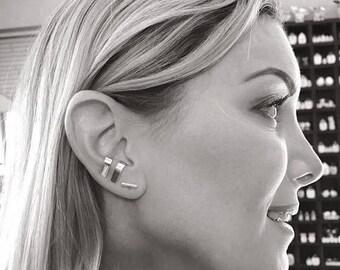 Wide suspender earring, Sterling silver SINGLE ear suspender, Ear cuff, Minimalist earring