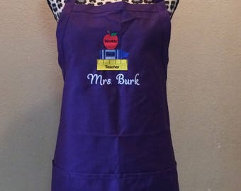 Embroidered Womens Kitchen Apron Personalized Teacher Apple & Books
