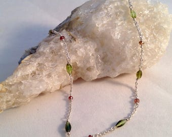 Genuine green and pink tourmaline anklet, wire wrapped in solid sterling silver with a lobster clasp.