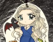 Daenerys Targaryen - Game of Thrones Keychain, Necklace, Earrings, Charm, Stickers, Tattoos, Embroidered Patch, Magnets